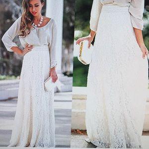 NWOT Boho Full/Ankle Length Lace Maxi Skirt